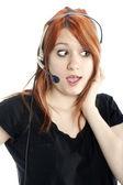Cute, Gossiping Receptionist close-up — Stock Photo