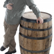 Stock Photo: Mleans on whiskey barrel