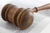 Gavel atop Legal Text — Stock Photo