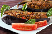 Melanzane ripiene al forno - Stuffed Eggplant oven baked — Stock Photo
