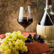 Grapes, bottle &amp; glass of wine - Stock Photo