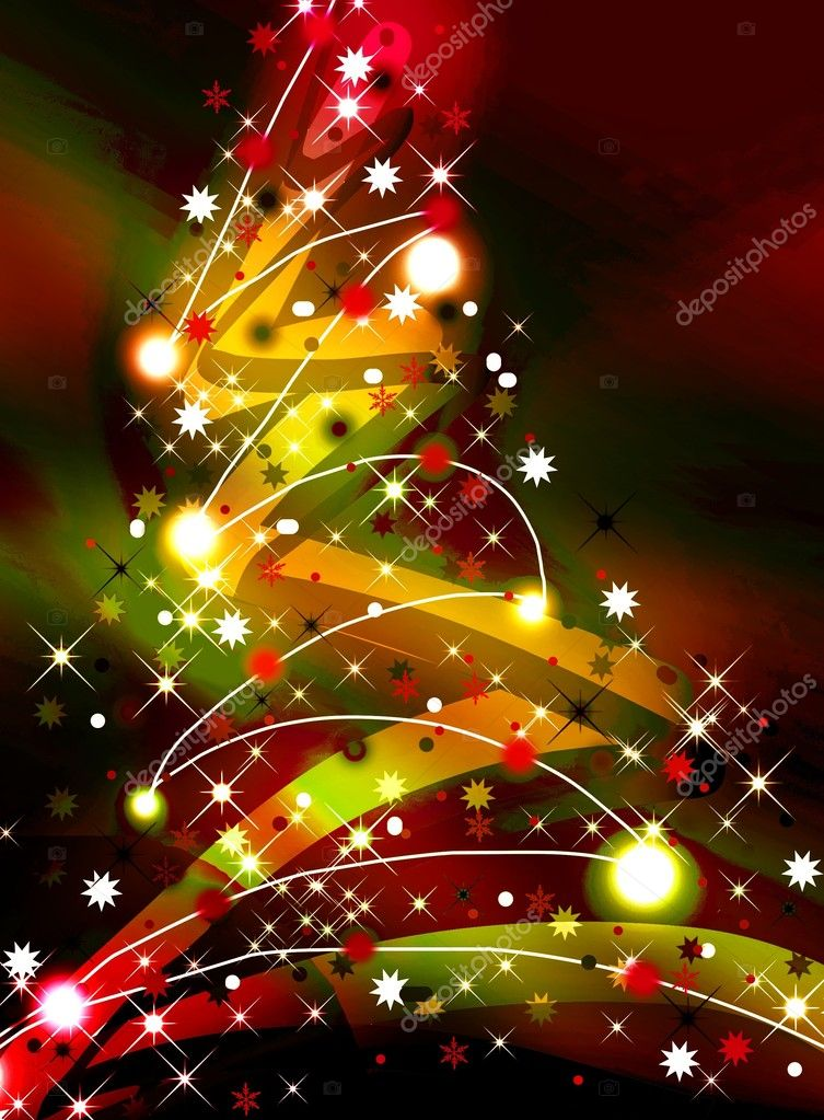 Colorful Christmas tree on dark background — Stock Photo #10172794