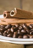 Coffee beans and cinnamon — 图库照片