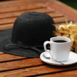 Stock Photo: Cup of coffee in garden