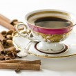 Black coffee in the china cup — Stockfoto