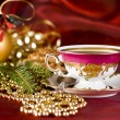 Christmas coffee in chincup — Stock Photo #10339411