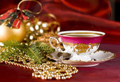 Christmas coffee in the china cup — Stock Photo