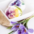 Painted eggs and crocus on Easter — Stock Photo #9771492