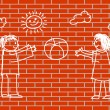Drawing of children on wall — Stock Vector