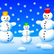 Stock Vector: Three snowmen