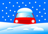 Red car in snow — Stock Vector