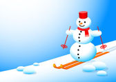 Snowman in winter landscape — Stockvector
