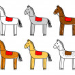 Collection of horses — Stock Vector
