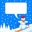 Snowman in winter landscape — Stock Vector