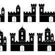 Stock Vector: Black silhouettes of castles