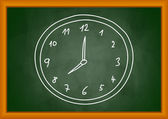 Drawing of clock on blackboard — Stock Vector