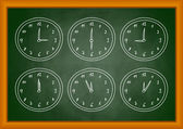 Drawing of clock on blackboard — Stockvector