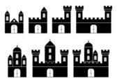 Black silhouettes of castles — Stock Vector
