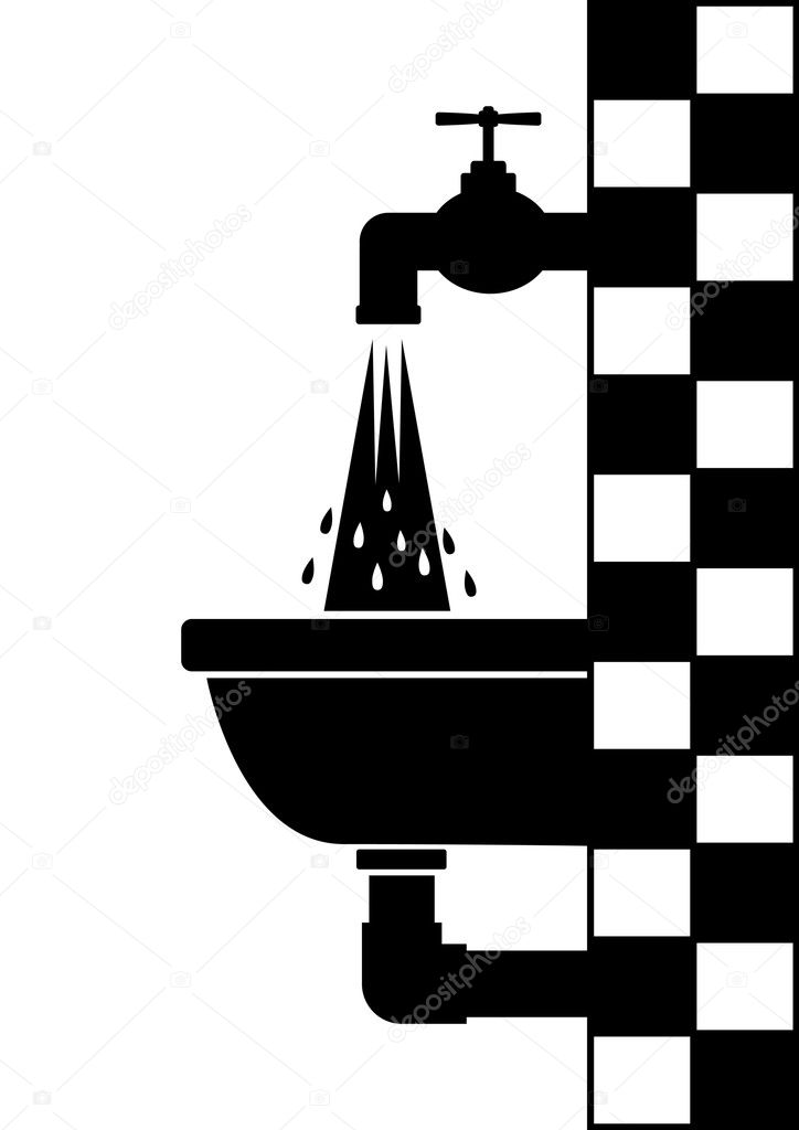 Washbasin with tap — Stock Vector #10165801
