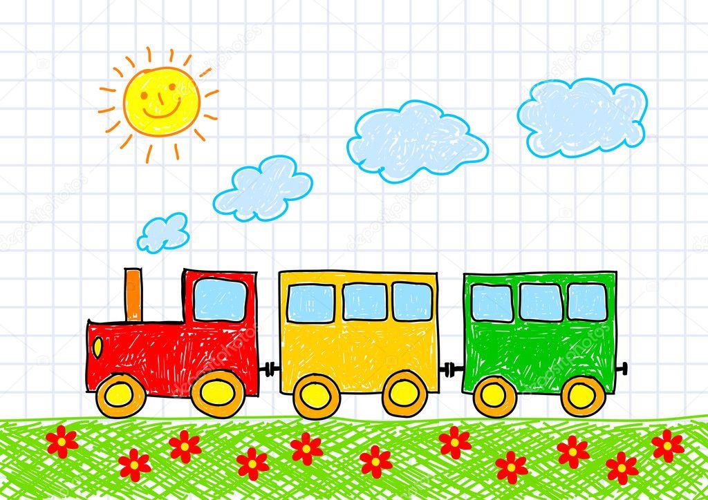 Как нарисовать ребёнку поезд картинки