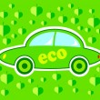 Green eco car on green background - Imagen vectorial