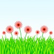Stock Vector: Summer meadow with red flowers