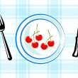 Blue plate with cherries — Stock Vector
