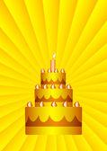 Gold cake — Stock Vector
