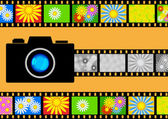 Camera with films — Stock Vector