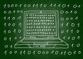 Drawing of laptop on blackboard — Stock Vector