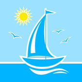 Sailboat on blue sea — Stock Vector