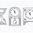 Drawing of clocks on squared paper - Stock Vector