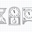 Stock Vector: Drawing of clocks on squared paper