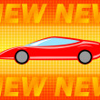 Stock Vector: Car on orange background