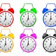 Stock Vector: Collection of alarm clocks