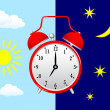 Red alarm clock on blue sky — Stock Vector