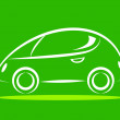Stock Vector: Car icon on green background