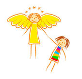 Drawing of angel and child — Stock Vector