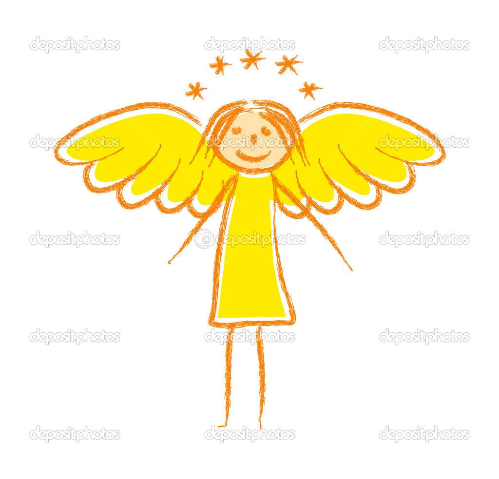Drawing of angel — Stockvektor #10664980