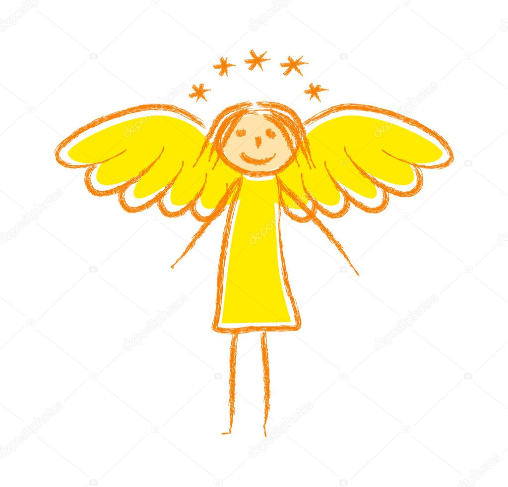Drawing of angel — Grafika wektorowa #10664980