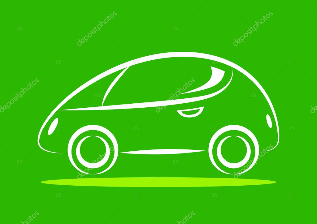 Green Car Icon Car Icon on Green Background