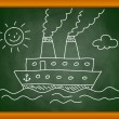 Drawing of ship on blackboard — Stock Vector
