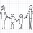 Royalty-Free Stock Vector Image: Drawing of family on squared paper