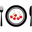 Cherries on porcelain plate - Stock Vector