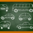 Drawing of cars on blackboard — Stock Vector