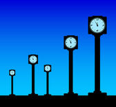 Clocks on blue background — Stock Vector