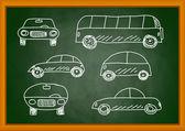 Drawing of cars on blackboard — Stockvektor