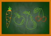 Drawing of vegetable and fruit on blackboard — Stock Vector