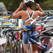 Stockfoto: Transition area, triathlon.