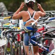 Stock Photo: Transition area, triathlon.